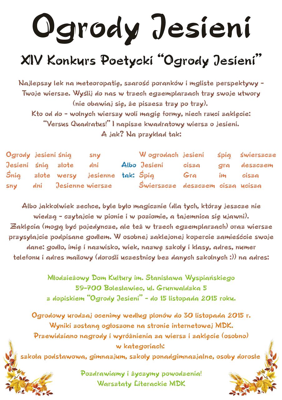 Xiv Konkurs Poetycki Ogrody Jesieni Konkursy Literackie